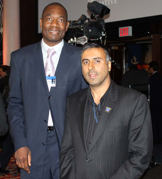 Dr.Abbey with Dikembe Mutombo Basketball player for Houston Rockets