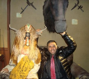 Dr. Abbey with Indian Statue  and Buffalo