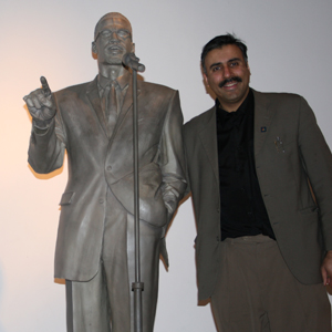 Dr.Abbey with Malcolm X Statue