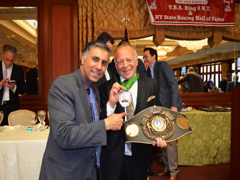 Dr.Abbey with Randy Gordon  Boxing Announcer
