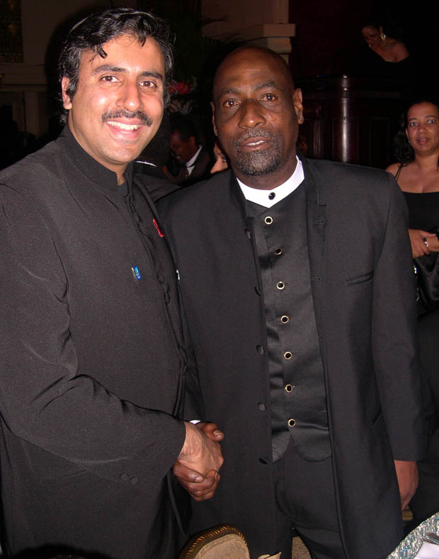 Dr.Abbey with Sir Vivian Richards West Indies Cricket Great