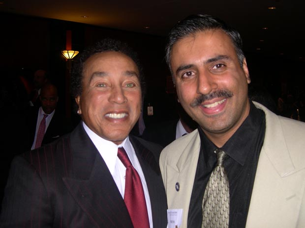 Dr.Abbey with   Smokey Robinson  of Smoke Alarm Charity