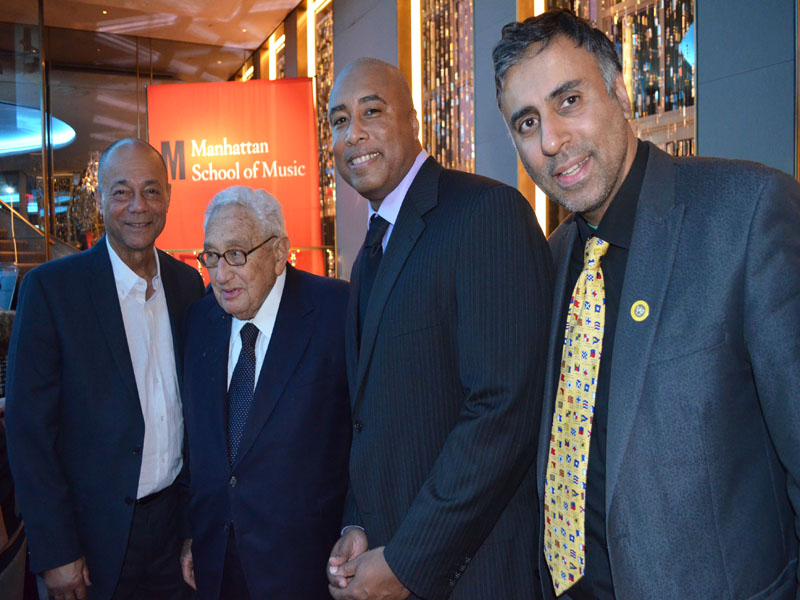 Bernie being Congrataled by Henry Kissinger Roy White Yankees Player & Dr.Abbey