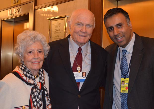 Dr.Abbey with John Glenn, First man from usa to land on the moon